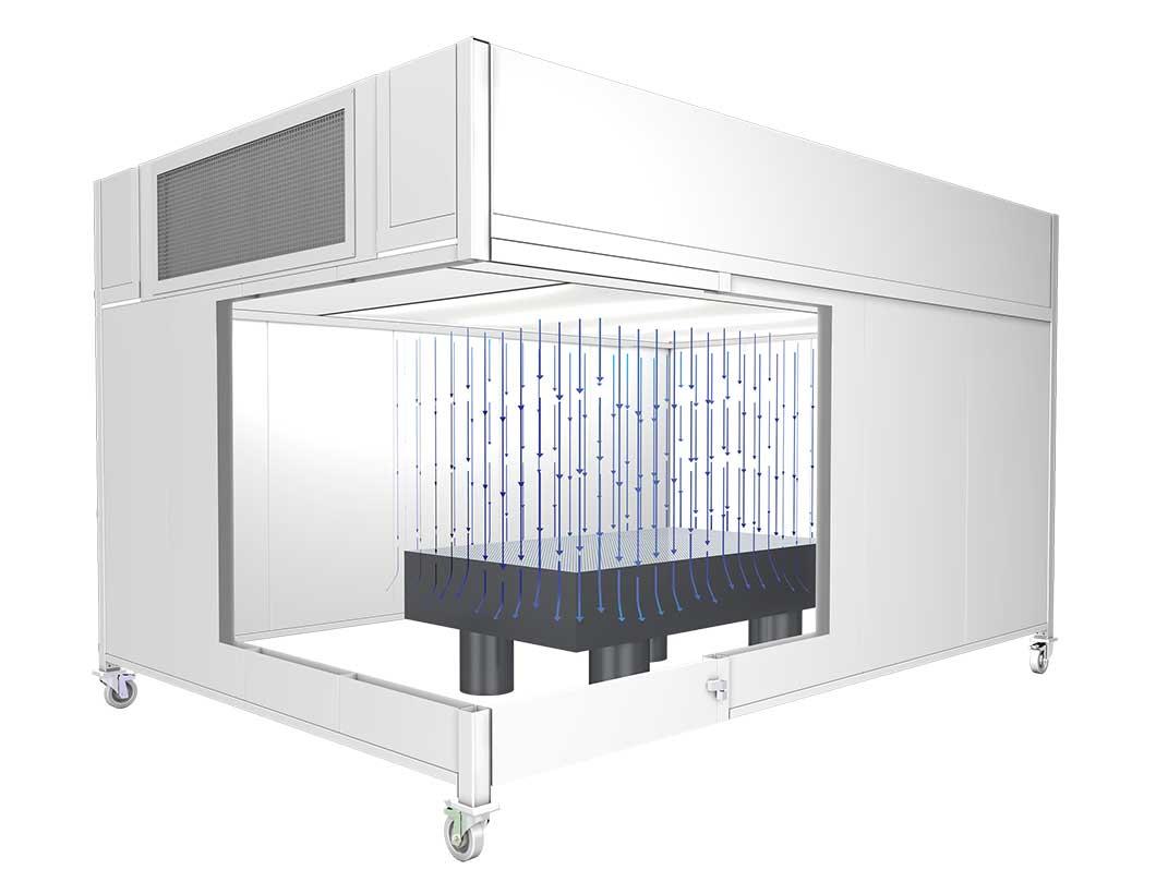 Reinraum-Laserkabine mit optischem Tisch