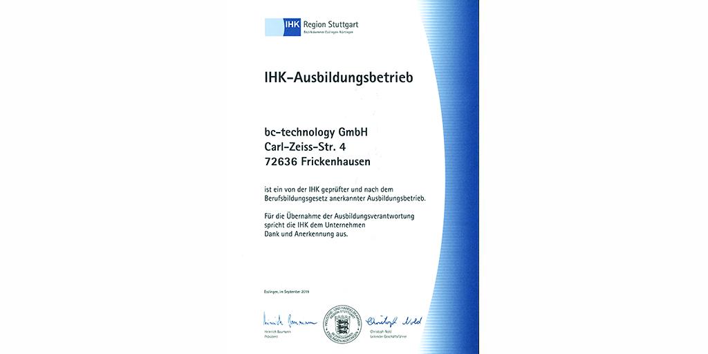 IHK-Zertifikat Ausbildungsbetrieb